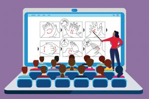 Illustration: Open laptop that looks like theater with people sitting in rows of seats and instructor pointing at image on screen (©wei/Adobe Stock)