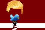Illustration: Yellow hair and flag tie with empty head space and Twitter bird for a mouth (Image: Gerd Altmann/Pixabay)
