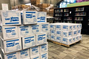 Boxes of medical supplies await use at Schenectady County (N.Y.) Public Library, which is serving as a COVID-19 vaccination site. (Photo courtesy Karen Bradley)
