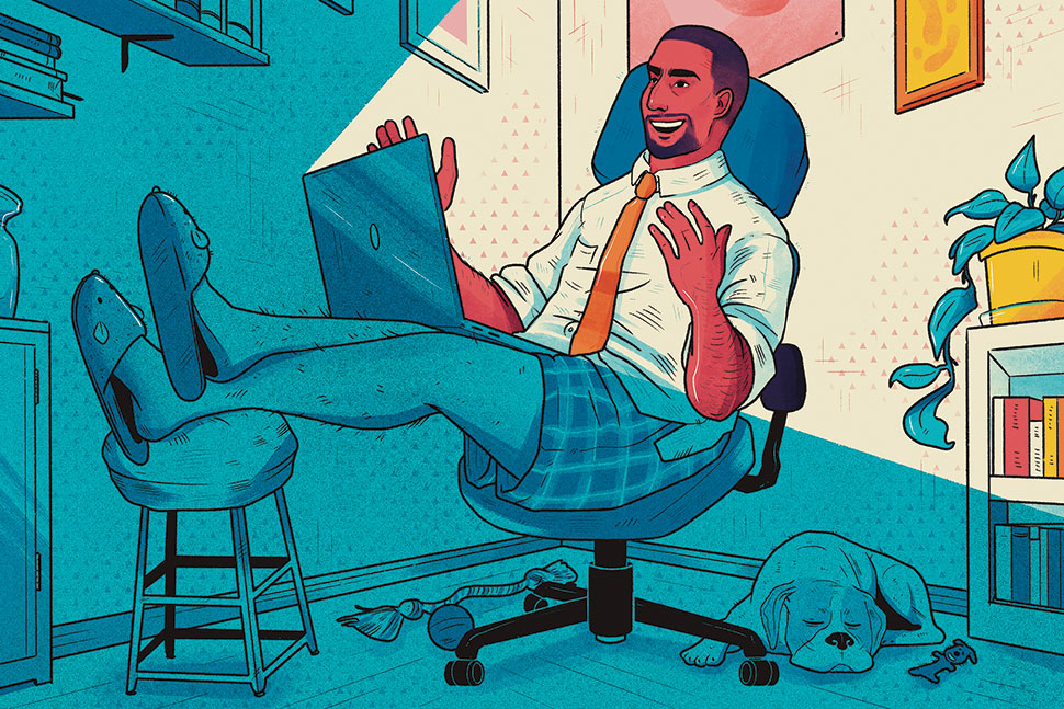 Illustration: Man does virtual interview at home with laptop, wearing shirt and tie with pajama bottoms and slippers (Illustration: Shane Tolentino)