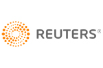 Reuters logo (orange sunburst with gray text)