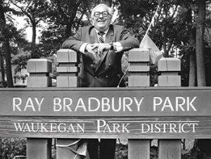 Ray Bradbury at Ray Bradbury Park in 1990. Photo by Waukegan Park District
