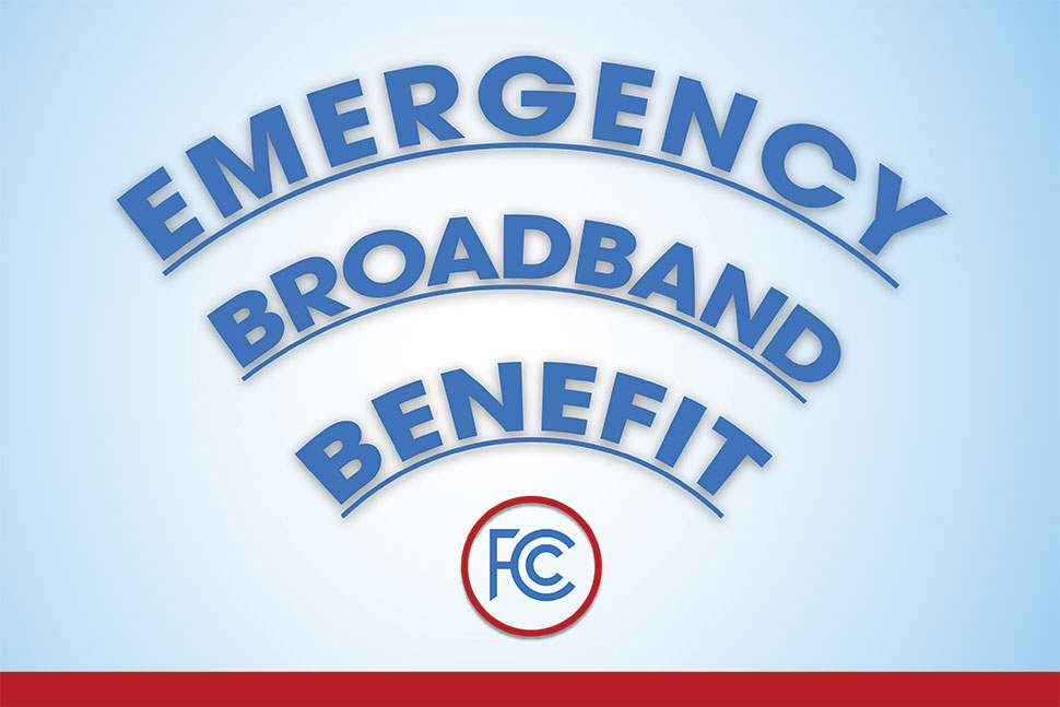 Emergency Broadband Benefit (text curved in the shape of a Wi-Fi signal)