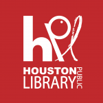 Houston Public Library logo (white text on red)