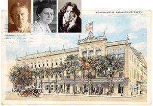 O. Henry, Frances Parkinson Keyes, and Oscar Wilde (left to right) were guests at the Menger Hotel.