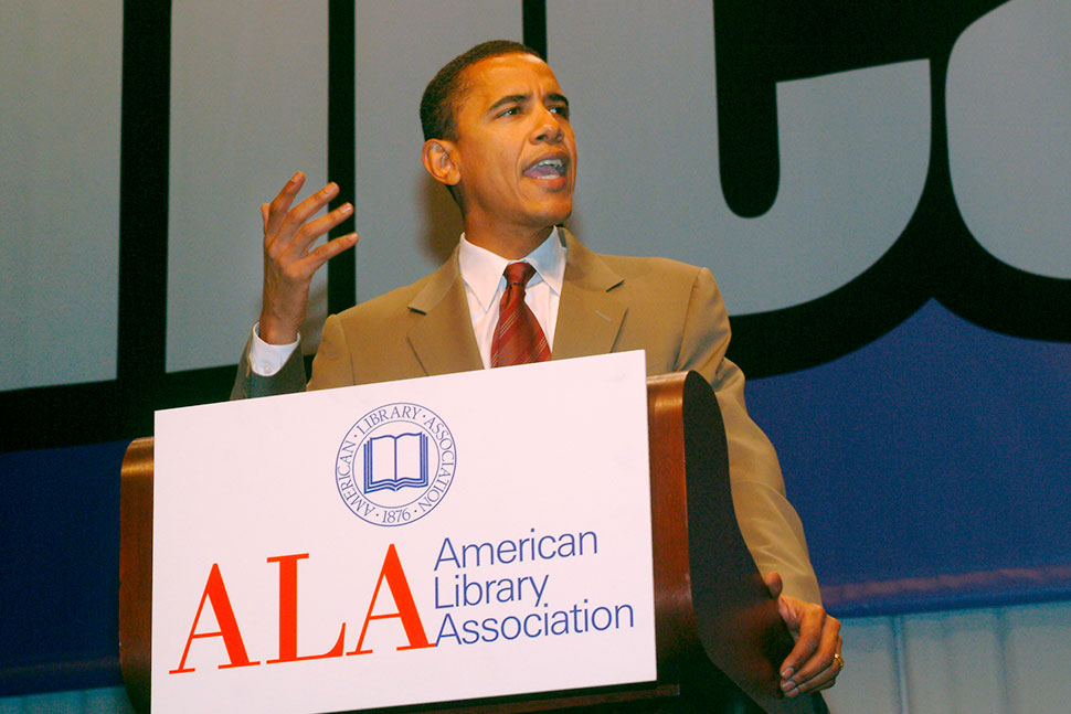 Sen. Barack Obama speaks at the 2005 ALA Annual Conference and Exhibition