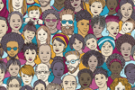 Illustration of many diverse faces