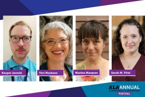 """Headshots of four speakers from the """"Sustainable Choices in Library Prizes and Promotional Materials"""" panel at ALA 2021 Annual Conference"""