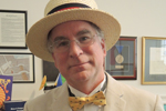 Brewster Kahle at Public Domain Day Jan. 31, 2019, wearing straw boater and bowtie