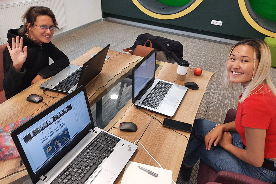 Students compete in the Virtual Library InfoLit Race Challenge at Nazarbayev University Library in Nur-Sultan, Kazakhstan