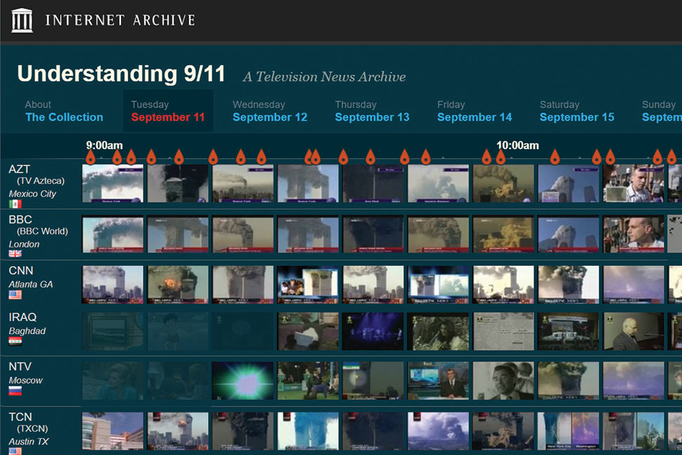 The Internet Archive's Understanding 9/11 video archive features footage from 20 news outlets spanning the period from the morning of September 11 to September 17, 2001.