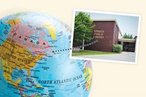 Globe with arrow pointing to Newfoundland, inset photo of Gander Public Library exterior (Photo: ©cnky photography/Adobe Stock (globe); Gander (Newfoundland) Public and Resources Library (exterior))