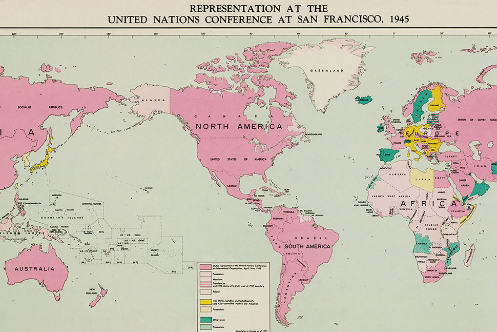Map indicating the 50 countries that participated in the UN Conference on International Organization at San Francisco in 1945.