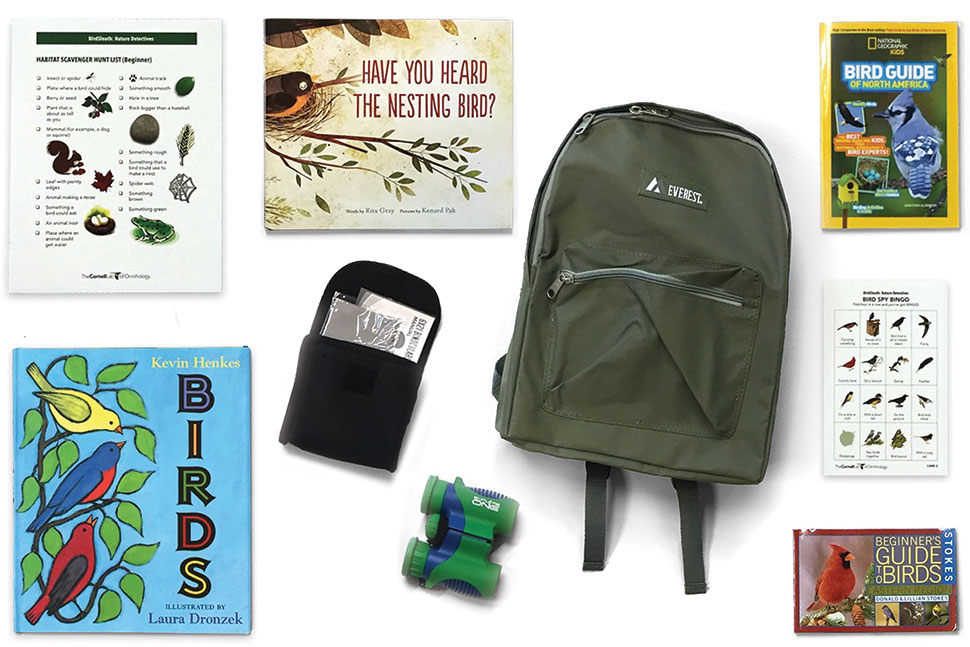 Photo of a children's birdwatching backpack, available for checkout from Henrico County (Va.) Public Library, which contains binoculars and bird guides.