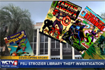 Screenshot of news coverage showing covers of vintage comic books with Florida State University Library in background