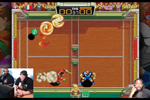 Tristan Wheeler (right), audio-visual and event planning specialist at Cleveland Public Library, plays Windjammers with streamers from sfxxPLAY on Twitch.