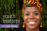 Youth Matters by Julia Torres (Black woman wearing multicolored headscarf and smiling)