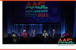 From left: Kathryn Roots Lewis, Kelly Gustafson, Joel Hoag, April Grace, Sean Doherty, and Kathy Carroll at the October 22 general session of the 2021 AASL National Conference in Salt Lake City. Photo: Association Studios