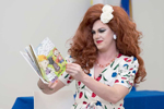Pickle reads Jacob's New Dress at West Hollywood (Calif.) Library at an event by the national organization Drag Queen Story Hour. Photo: Jon Viscott