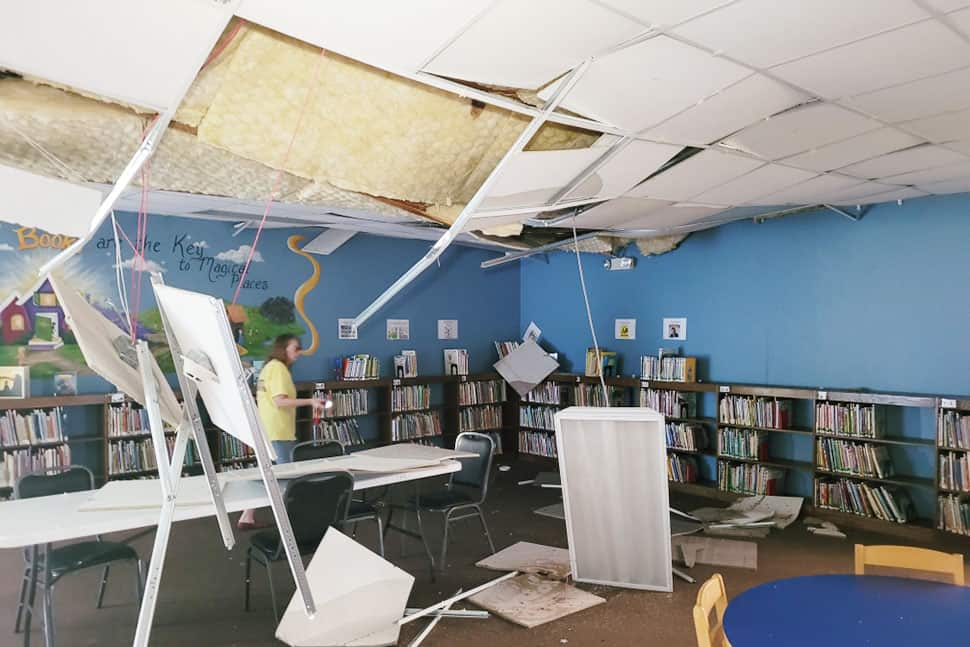 Post–Hurricane Ida ceiling damage in the Ponchatoula branch of Louisiana's Tangipahoa Parish Library (Photo: Courtesy of Tangipahoa Parish Library staff)